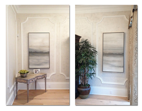 Neutral gray dipytch paintings