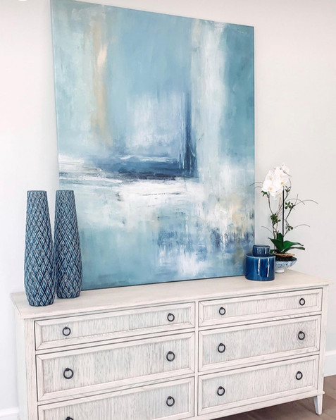 Abstract Giclee Print Shades of Blue. Interior Design by Calusa Bay.