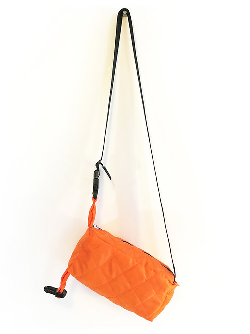 ORANGE QUILTED  CROSSBODY POUCH