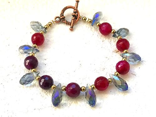 Bracelet agate rouge et cristal