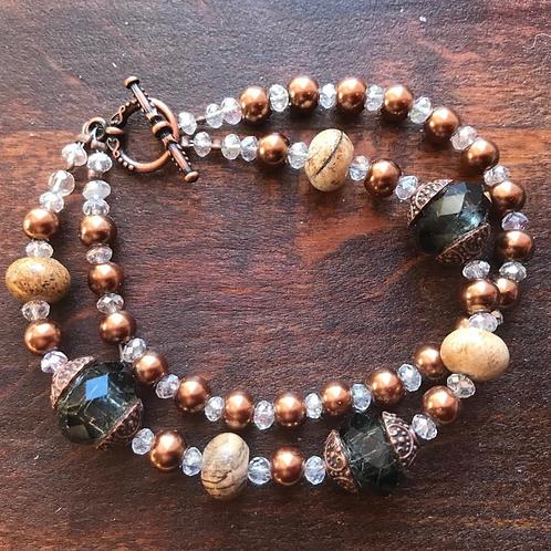 Bracelet double rang, couleur d'automne