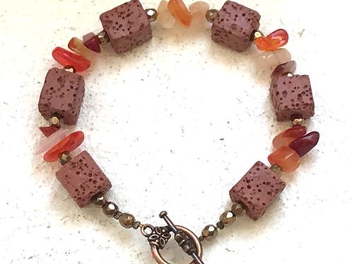 Bracelet pierre de lave et cornaline