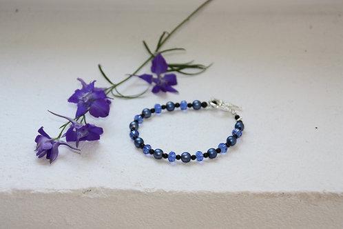 Bracelet onyx, cristal et nacre