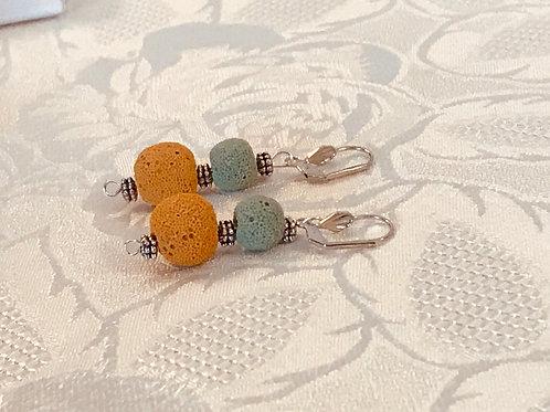 Boucles d'oreilles en pierre de lave teintée