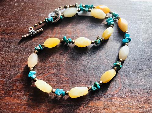 Collier en Jade jaune,Turquoise et hématite dorée