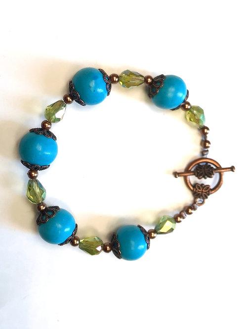 Bracelet turquoise et cristal