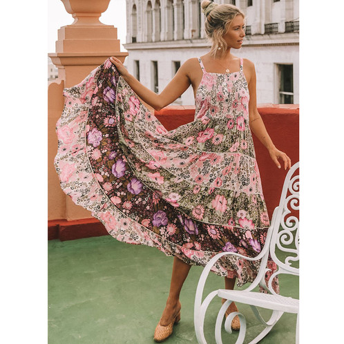 b3d0e8d14b2 Spell   The Gypsy Collective Jasmine Desert Daisy Maxi Dress in Lilac  editorial holding skirt white
