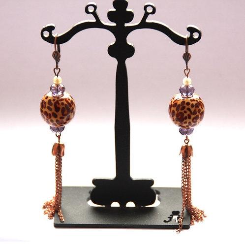 Boucles d'oreilles cristal et bois, finitions métal cuivré