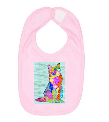 Cat With Bluefish Pop Art Bib by April Minech