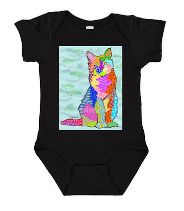 Cat With Bluefish Pop Art Onesie by April Minech
