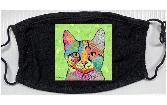 Har Green Cat Pop Art Mask by April Minech