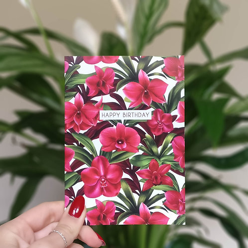 Red Orchid Birthday Card