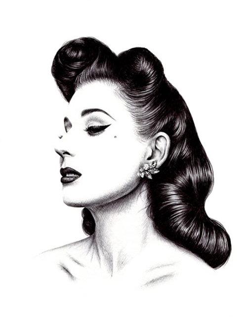 Dita Von Teese Biro Drawing Print