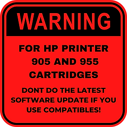 Warning for HP 905 and 955
