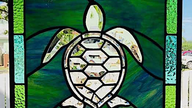 Sea Turtle stained glass panel.