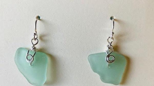 Genuine aqua sea glass earrings with sterling silver earwires