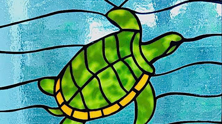 Sea Turtle in Ocean Stained Glass Panel