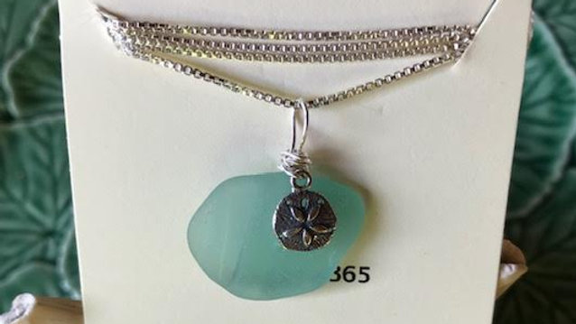 Genuine aqua sea glass with sterling silver sand dollar