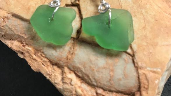Genuine green sea glass and sterling silver earrings