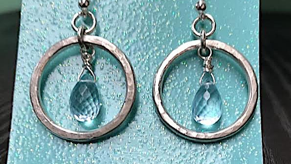 Fine silver and genuine aquamarine briolette earrings