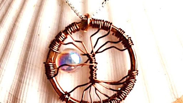 Handcrafted copper Tree of Life pendant with genuine swarovski crystal