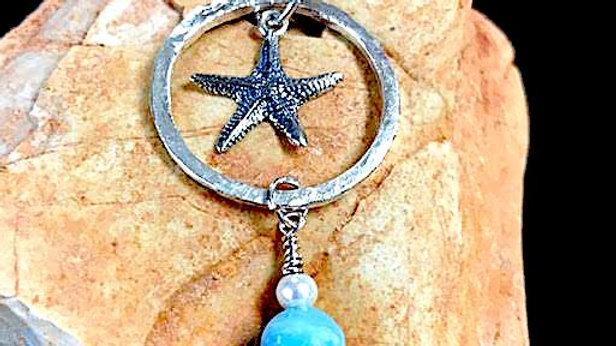 Fine silver and sterling silver pendant with larimar and pearl