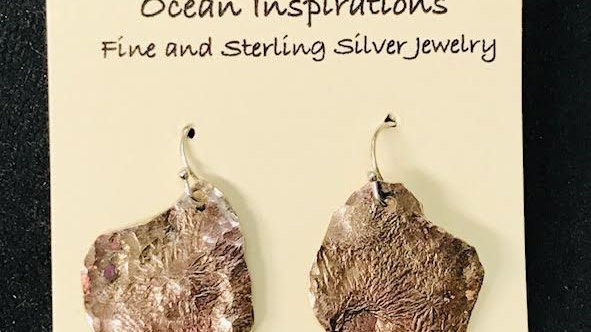 Copper and reticulated sterling silver organic earrings