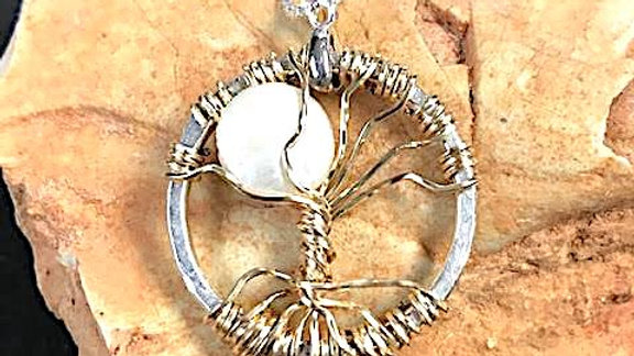 Fine silver and 14k yellow gold-filled and pearl Tree of Life pendant