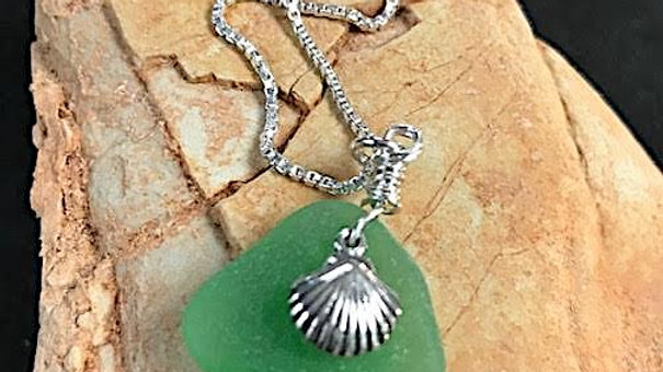 Genuine green sea glass and sterling silver shell pendant
