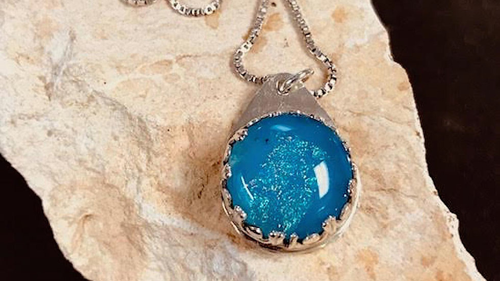 Fused Glass and sterling silver pendant