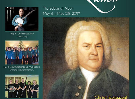"""""""Bach's Lunch"""" in Charlottesville...Thursday May 4th at Noon."""