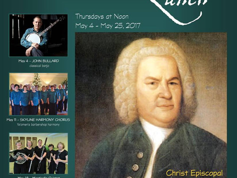 """Bach's Lunch"" in Charlottesville...Thursday May 4th at Noon."