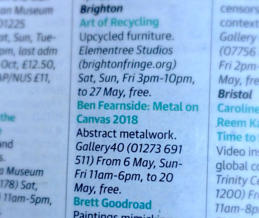 Excerpt from The Guardian listing exhibition