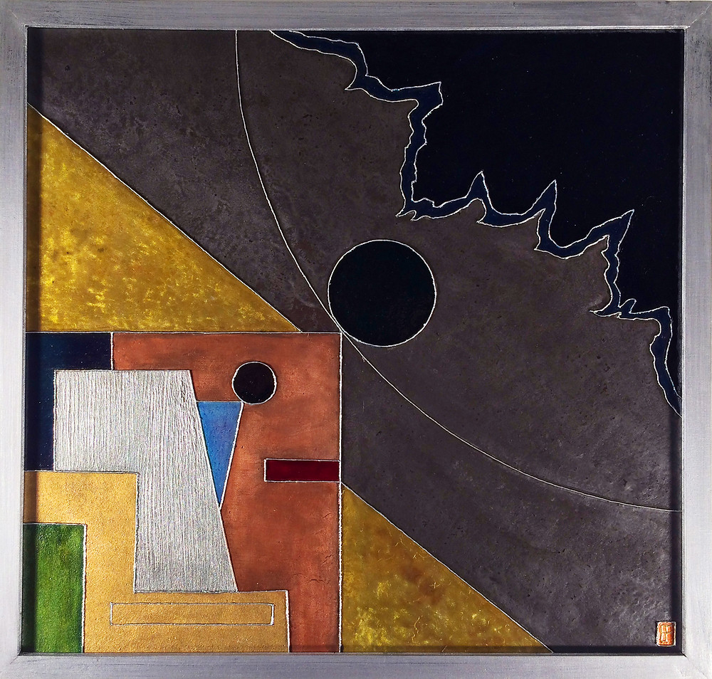 'Seal' an abstract geometic metal on canvas painting by Ben Fearnside