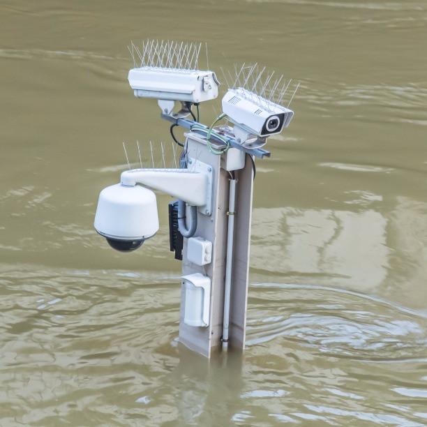 Subversive theatre, surveillance cameras under water