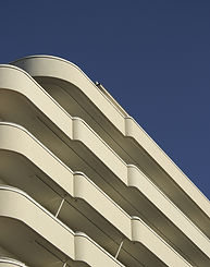 Streamline moderne building 'Drive In Deco' site specific show