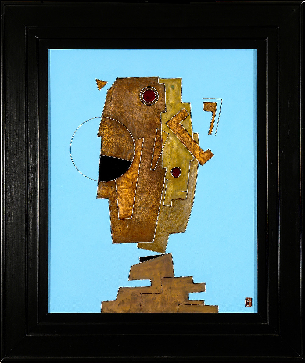 'Janus' an abstract geometic metal painting by Ben Fearnside