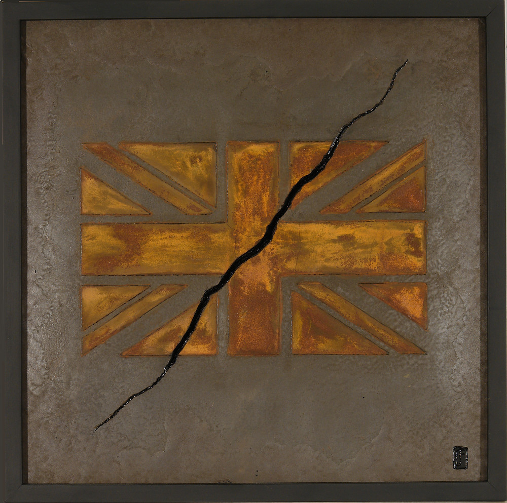 'Disunion' a Union Jack in rust painting by Ben Fearnside