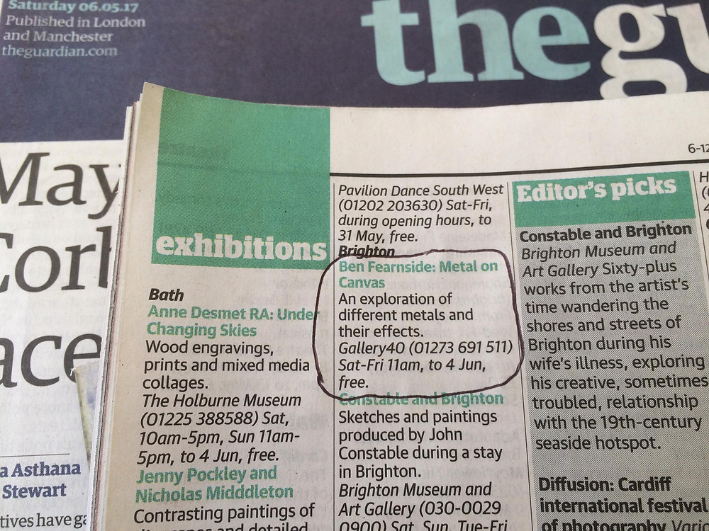 Metal on Canvas listed in The Guardian Guide
