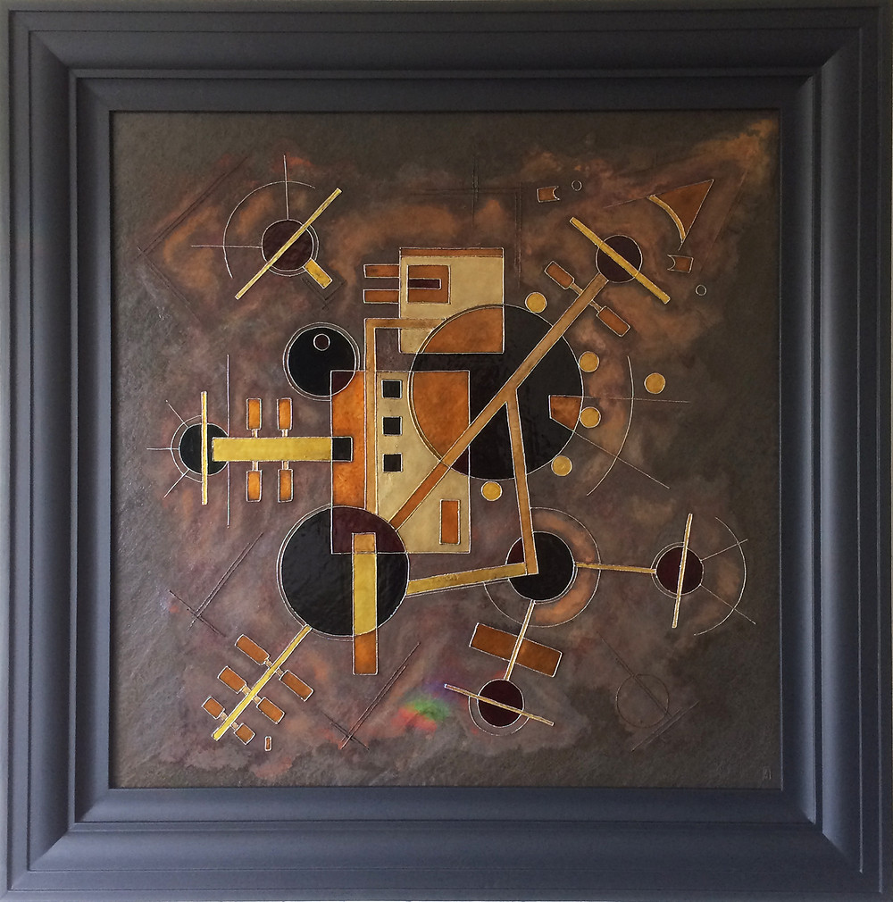 'Telstar' an abstract geometic metal painting by Ben Fearnside