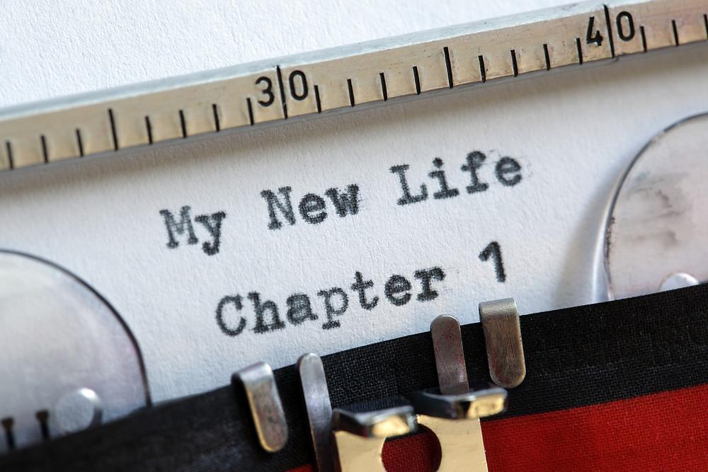 Typewriter writing a new life
