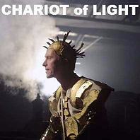 Dramatic site specific show 'Chariot of Light'. Sun god on steam train!