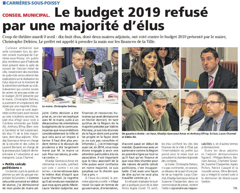 Le budget de Carrières rejeté