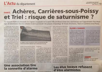 Article du courrier des yvelines sur les pollutions au plomb