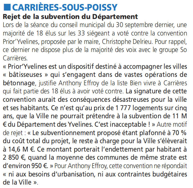Rejet de la convention PriorYvelines