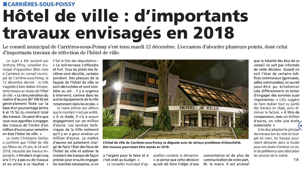Mairie : 1 million d'€ de rénovation