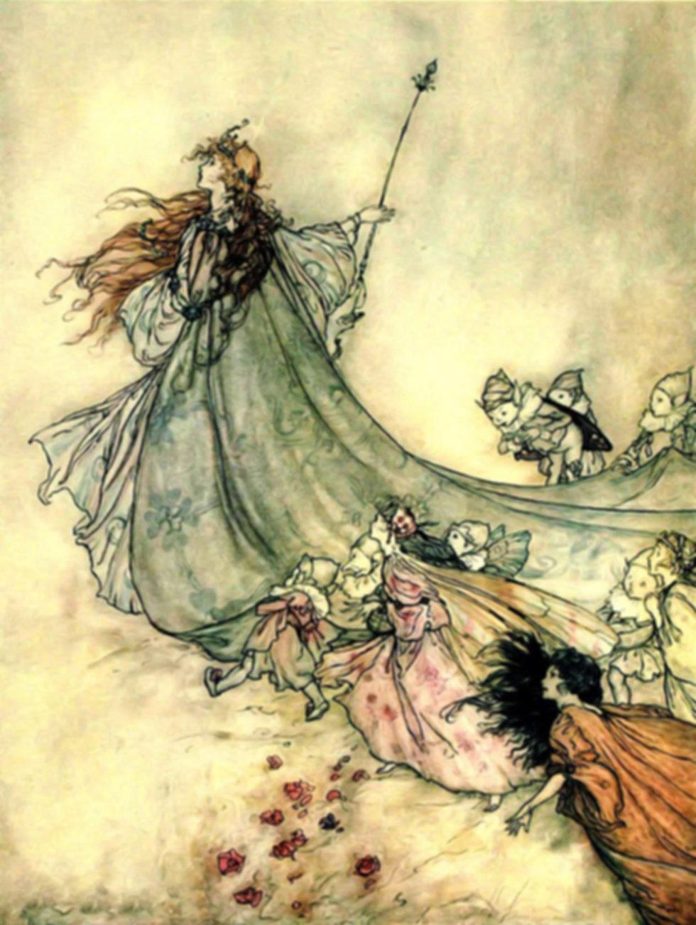 vintage arthur rackham fairy queen procession story medicine fairy tale