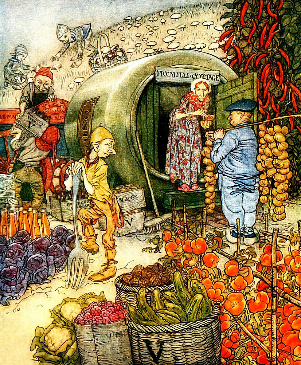 gypsy elf onion seller piccalilli cottage fairy tale story medicine