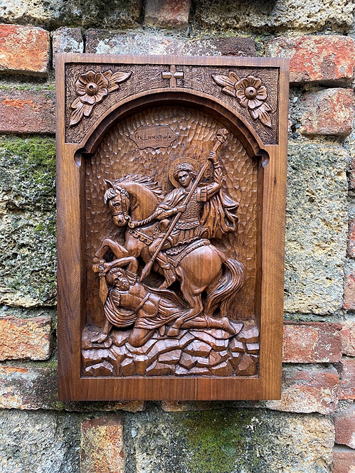 St. Demetrius Wood-carved Icon