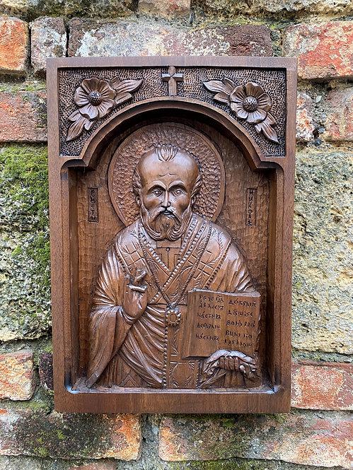 St. Nicholas Wood-carved Icon